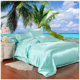 Wholesale Satin King Bedding - Double sides satin silk bedding set artifcial silk bed set tencel silk comforter cover bed sheet pillowcases solid color sky water blue 5029