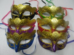 Wholesale Wholesale Venetian Masks For Men - 2016 mix order 100pcs lot promotion selling party mask welding gold fashion masquerade Venetian colorful Free shipping