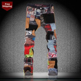 Wholesale Jeans Punk Slim - Men's Patchwork Jeans Fashion Spliced Washed Nightclub Stage Button Fly Punk Style Pencil Pants Male Slim Straight Full Length Denim