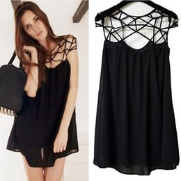 2fad3aead668 New Fashion Summer Women Cute Novelty Black Party Plain Girl Cut Out  Chiffon Mini Shift Dress Sexy Vestidos WD5621