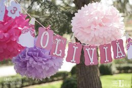 """Wholesale Hanging Paper Flower - 10Pcs Lot 14"""" Size 35CM Tissue Paper Pom Poms Hanging Flower Balls Wedding Party Supplies 2015 Style Free Shipping Mixes Color"""