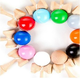 Wholesale Games Activities Kids - Wholesale-Colorful 17CM Kendama Balls Japanese Traditional Wood Game Toy Educational Gifts Activity Gifts toys for Children DHL free