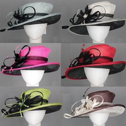 Wholesale Sinamay Wide Brim - WIDE BRIM wedding church dress sinamay hat kentucky derby hat in mix style and colors.FREE SHIPPING,5pcs lot
