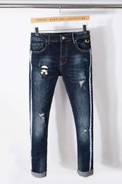 Wholesale Butterfly Jeans - Famous Brand Italian luxury Designer Mens Distressed Butterfly Embroidered Pants White Side Stripe Blue Skinny Robin Jeans Biker Denim Pants