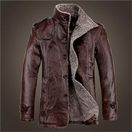 Wholesale Men S Leather Jacket 4xl - Fall-Leather Jacket Men Winter Fashion PU Jackets and Coat Thickening Wool Windbreaker Warm Skin Lamb Fur Trench Coat Plus Size 4XL