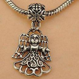 engel dia charme Rabatt Engel Charms Pandora Antik Silber Menschliches Mädchen Metall Folie neue DIY Modeschmuck Komponenten für europäische Armbänder Halsketten 24mm 100St