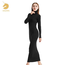 Wholesale Hooded Pullover Dress - Womens Winter Cashmere Sweaters Auntmun Women Knitted Pullovers High Quality Long Female Trutleneck Ankle-Length Long Sweaters Dress