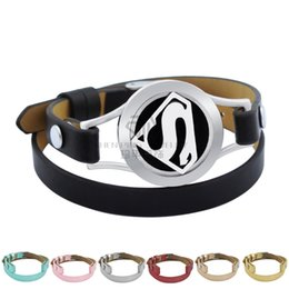 Wholesale Superman Bracelets - Aromatherapy Locket Stainless Steel Bangle Superman Genuine Leather Magnetic 25mm Essential Oils Diffuser Locket Leather Bracelet