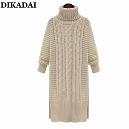 Wholesale Yellow Striped Sweater Women - Turtleneck Sweater Dress for Women XL L Long Sleeve Casual Sweaters and Pullovers Female long sweater Plus Size Knitted Tops