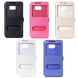 Wholesale Hongmi Cover Case - Open Window Wallet Leather Pouch Case For Samsung Galaxy S7 EDGE A9 A7 A5 A3 J3 2017 Xiaomi 5 M5 Hongmi 3 Redmi Stand Display Silk Bag Cover