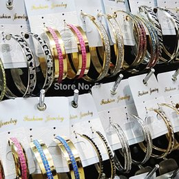 Wholesale White Gold Hoop Earrings Wholesale - 2016 NEW Wholesale Jewelry Lots Mix Style 24pairs Free shipping Fashion Hot Selling Frosted Silver Gold Hoop Earrings for Women A1049