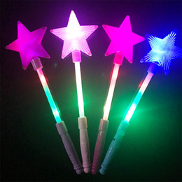 Wholesale Toy Flashing Blue Light - Luminous magic stick five-pointed star flash stick children's toys wholesale creative fairy club party decoration free shipping