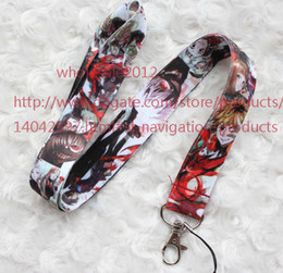 Wholesale Cartoon Neck Straps - Free shipping New Lot 10pcs Cartoon Japan Animation Tokyo Ghoul Phone Lanyard Key chain ID Neck Strap Cell Phone Straps & Charms Wholesale