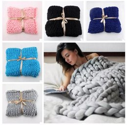 Wholesale Plane Photos - 11 Colors 60*60cm Thick Line Knitted Blanket Photo Taking Props Blending Anti-Pilling Super Soft Used in Bed Sofa Plane 50pcs