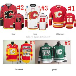 Wholesale Green Road - Factory Outlet, Custom calgary flames Jersey  red green white black home road third Goalie Cut Jersey sewn any NO. name SIZE
