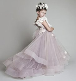 Wholesale One Hand Wedding Dresses - 2016 New Lovely New Tulle Ruffled Handmade flowers One-shoulder Flower Girls' Dresses Girl's Pageant Dresses Hot Selling