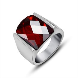 Wholesale Red Solitaire Garnet Ring - Natural Garnet Mens Ring Steel Titanium Sapphire Ruby Stainless Steel Gemstone Rings Simple Jewelry For Wholesale