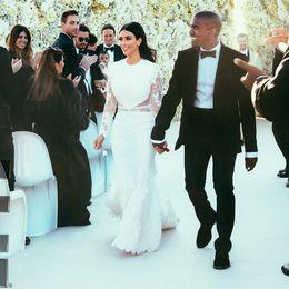 Wholesale Mermaid Celebrity Wedding Gown - Mermaid Wedding Dresses Kim Kardashian White Lace Hollow Long Sleeve Jewel Sexy Wedding Gowns Plus Size Celebrity Wedding Dresses 6115