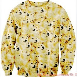 Wholesale Dog Head Hoodie - 2014 New Women Men Many Much dogs doge head print Pullover funny animal 3D Sweatshirt casual Hoodies sports Galaxy sweats Tops