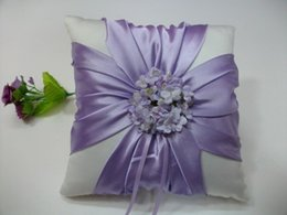 Wholesale Purple Wedding Stuff - High Quality Wedding Favors White Purple Flower Satin Ring Pillow Ring Bearer for Wedding Ceremony Party Stuff Accessories