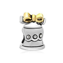 Wholesale Jingle Beads - 10pcs per lot Christmas bowknot Jingle Bell charm Silver and gold color Bead For Pandora Charm Bracelet