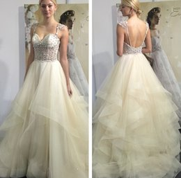 Wholesale Eve Milady Dresses - 2015 Eve Of Milady Backless Crystals Wedding Dresses Spaghetti Ball Gown Tulle Wedding Gowns Luxurious Bridal Dresses W021