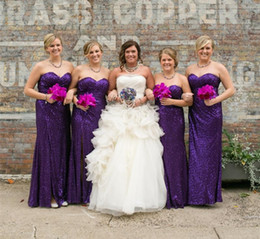 Wholesale Wedding Dresses Factory - Sweetheart Sequin Purple Bridesmaid Dresses Wedding Guest Dress Maid of Honor Party Dresses Factory Custom Made
