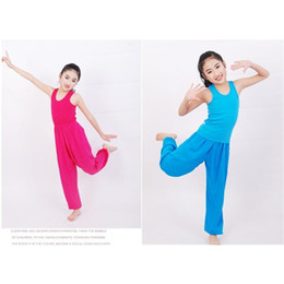 Wholesale Dance Pants For Kids - 2PC Chinese Style Cotton Kids Girls Summer Martial art Dance Pants Harem Pants For Girls and Boys