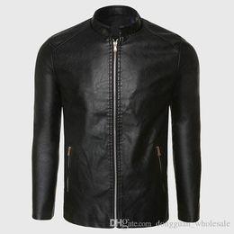 Wholesale Black Leather Flight Jacket - Biker Leather Jacket Men PU Leather Suede Jacket Male Aviator Flight Suit Black Biker Clothing Slim Zipper Motorcycle Punk Style