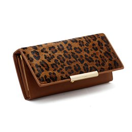 Wholesale Leopard Hair Clutch - Wholesale-3 Fold 100% Genuine Leather With Animal Hair Designer Women Long Wallet Leopard Pattern Carteras Female Clutch Coin Purse Wallet