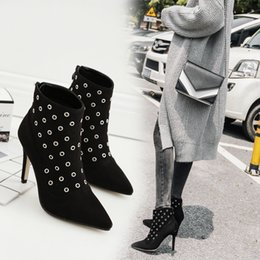 Wholesale Worn Womens Shoes - Sexy Hollow Womens Fashion High Heels Pointed Shoes Toe Elegant Work Wear Booty Stiletto Ankle Boots Size Eu 35-40 2017 New Corduroy