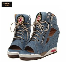 Wholesale Women Denim Wedges - Wholesale-Hot Sales 2015 high Quality Casual sports sandals Woman Wedges high heels Denim peep toe gladiator sandals women Blue shoes