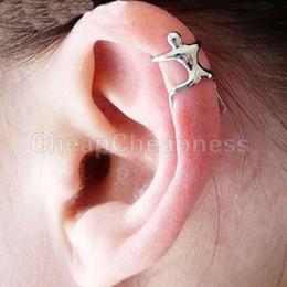 Wholesale Climbing Man Earrings - 1 PC Silver Climbing Man Naked Climber Ear Cuff Helix Cartilage Earring