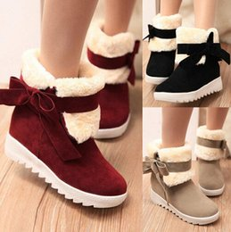 Wholesale Lady Black Red Boots - Womens Snow Boots Faux Fur Womens Ankle Boots Bowtie Cleated Casual Ladies Warm Outdoor Boots Shoes cotton boots 3 Colours Free Shipping