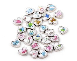 Wholesale Baby Foot Charms - 20Pcs Lot DIY Alloy Charm Mixed Baby Clothes Feet Baby Carriage Heart Floating Charms For Memory Glass Locket