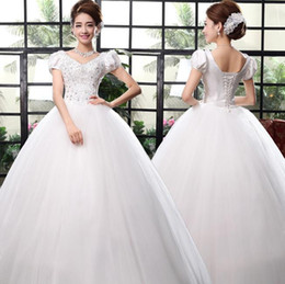 Wholesale beaded silk taffeta ball gowns - 2018 Sexy New Sheer Lace short Sleeves Backless lace ball gown Wedding Dresses High Neck Tulle Applique Beaded Court Train Bridal Gowns
