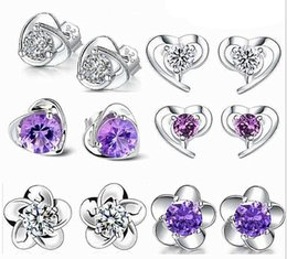 Wholesale Stud Earings Heart - 925 Sterling Silver Jewelry Stud Earrings with Zircon Heart Shaped Blossom Earings Studs Fashion Jewellry for Sale Mix Order
