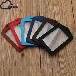 Wholesale Office Card Stock - Wholesale- New PU Leather passport Bus Card Cover Neck Company Office Supply Name Badge Card Case Business Card Holder