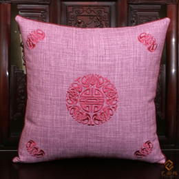 Wholesale Embroidery Linen Cushion Cover - Creative Embroidery Lucky Pillowcases Bedhead Waist Pillow China style High End Natural Linen Cushion Covers for Couch Chairs Home Office