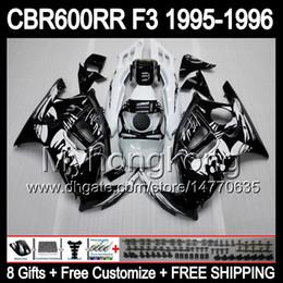 Wholesale 95 Cbr Fairing Kit - 8gifts+ Bodywork Black For HONDA CBR600RR F3 95-96 CBR600F3 CBR600 F3 CBR 600F3 CBR 600 F3 95 96 1995 1996 Graffiti Black white Fairing Kit