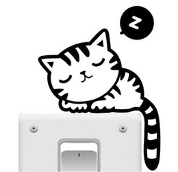 Wholesale Stickers Muraux Living - 2016 New Hot Sale Cat Funny Cute Switch Vinyl Stickers muraux for Kids Room Wall Stickers
