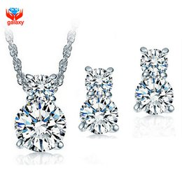 Wholesale 925 China Diamond Earrings - Really 925 Sterling Silver Wedding Jewelry Sets for Bridal Sparkling CZ Diamond Necklace and Stud Earrings Jewelry Set ZS001