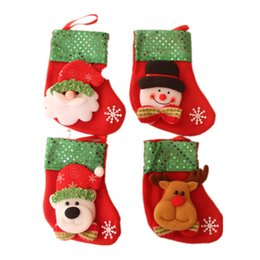 Wholesale Christams Decorations - 16*9cm Christams Stockings Candy Knife Bag Christmas Hanging Stockings Decoration Gifts Santa Claus Sock New Year 50Pcs Lot Free Shipping