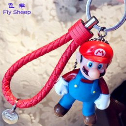 Wholesale Mario Accessories Wholesale - Lovely Cartoon Super Mario Metal Key Chains Men's creative Keychain Car Keyring Bag Earrings Accessories