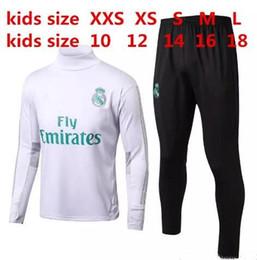 Wholesale New Kids Sportswear - new BEST QUALITY 17 18 Real Madrid KIDS BOYS soccer chandal football tracksuit 2017 2018 KIDS training suit skinny pants Sportswear