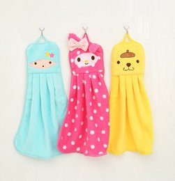 Wholesale Embroidery Hand Towel - Square cartoon head hanging type hand towel kitchen thicken flannel embroidery absorbent cloth