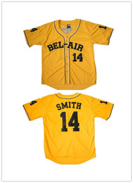 Wholesale L Bel - Men's Bel Air Academy Will Smith #14 Stitched Baseball Yellow Jersey Size S-6XL For Free Shipping