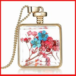 Wholesale Glass Perfume Bottle Flower - Luxury flower locket Transparent glass plant square perfume bottle necklaces women best friend DIY statement jewelry Christmas gift 160727