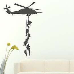 Wholesale Decals For Boys - Wholesale-Marines Military Vinly Wall Sticker Helicopter Sticker Decal For Boys Bedroom Boys Army Decor