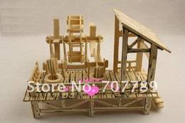 Wholesale Wooden Chinese Doll - Wholesale-2015 Limited Rushed Wooden Toys 3d Wood Puzzle Model Miniature Doll House Toy Chinese Agricultural Machinery Free Shipping